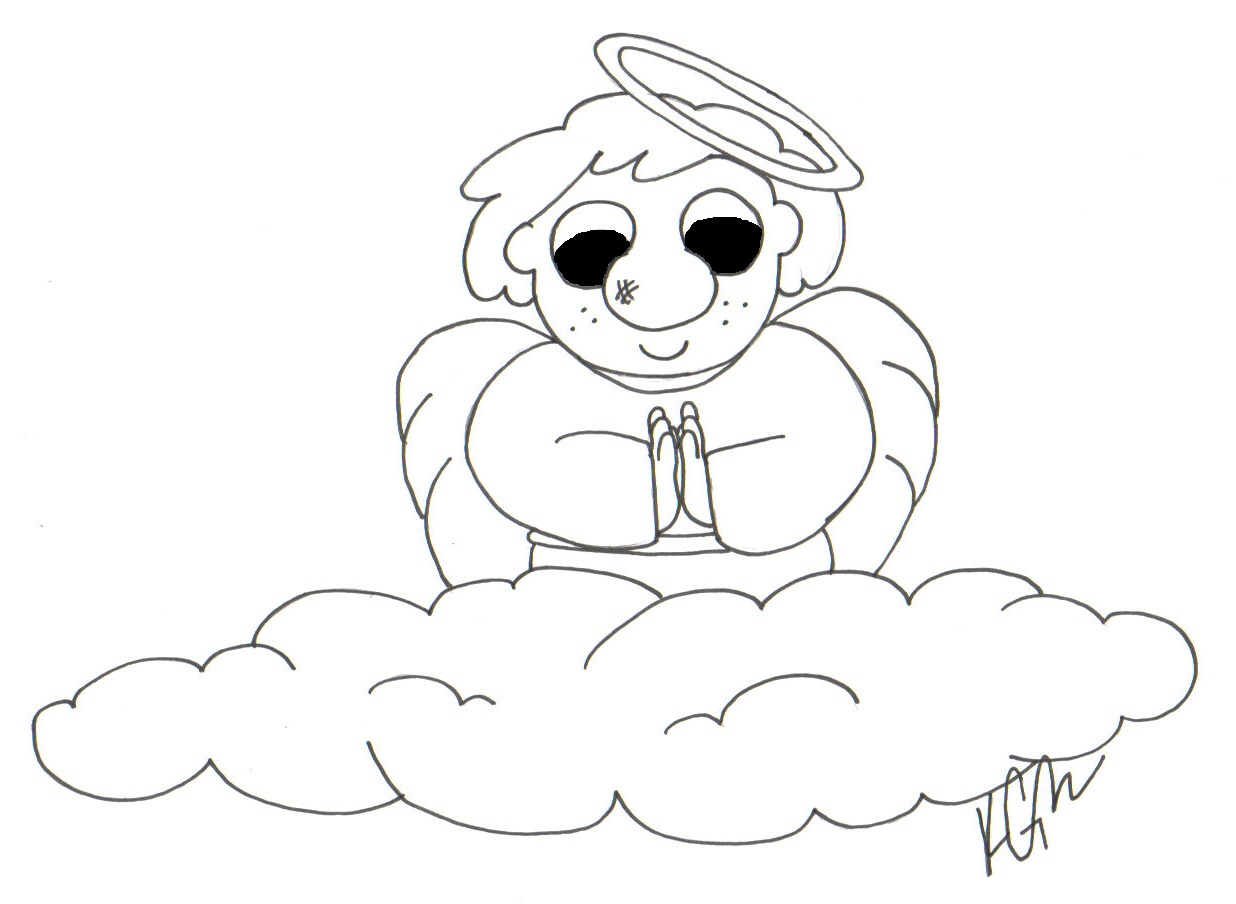 Billy Praying Angel - bw